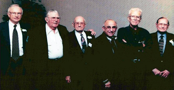 Founders of the Outer Banks Community Foundation. From left to right: Ray White, Andy Griffith, David Stick, Edward Greene, George Crocker, Martin Kellogg. Not pictured: Jack Adams.