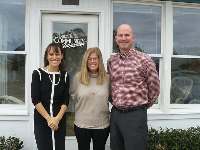 Left to right: Lorelei Costa, Outer Banks Community Foundation Executive Director, Jennifer Joyce and Clark Twiddy, Twiddy & Company Realtors