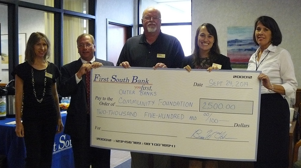 Pictured (left to right): Leslie Reed, Finance Manager, Outer Banks Community Foundation; Skipper Hines, Senior Vice President, First South Bank; Bob Muller, Treasurer, Outer Banks Community Foundation; Lorelei Costa, Executive Director, Outer Banks Community Foundation; and Dorothy Hester, Board Member, Outer Banks Community Foundation.